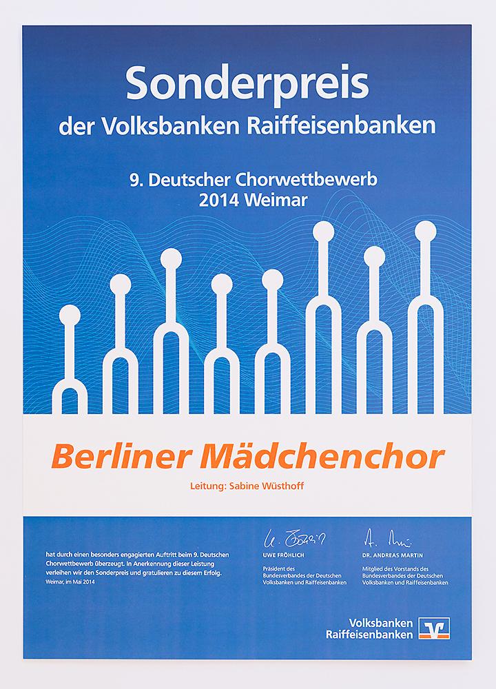Chorwettbewerb 2014 in Weimar: Sonderpreis der Volksbanken Raiffeisenbanken für den Berliner Mädchenchor