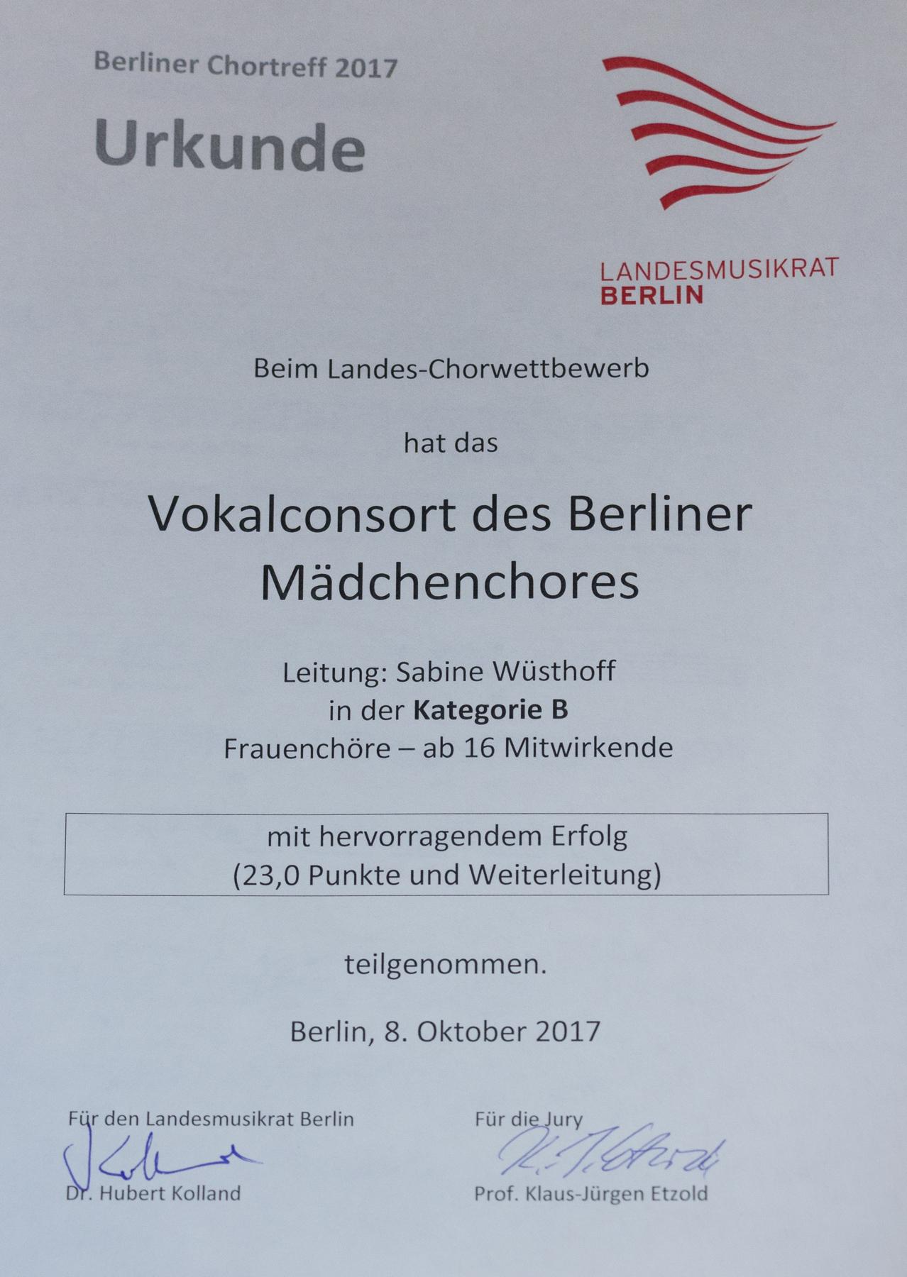 Urkunde Landeschorwettbewerb für Vokalconsort